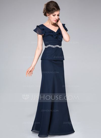 A-Line/Princess Off-the-Shoulder Floor-Length Chiffon Mother of the Bride Dress With Beading Cascading Ruffles (008042309)