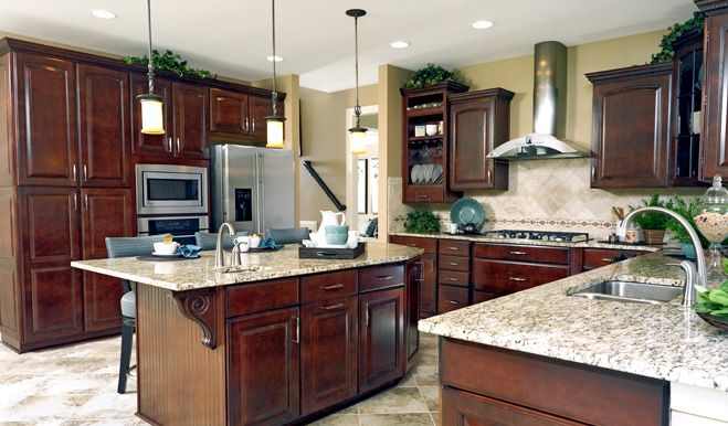 Dream Kitchen ~ Rich Cabinets, Granite Countertops And A State Of The Art  Hood.