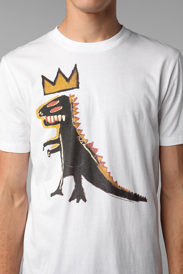 Basquiat Dinosaur Crown Tee | T-ShirT | Tees, Mens tee ...  Basquiat Dinosa...