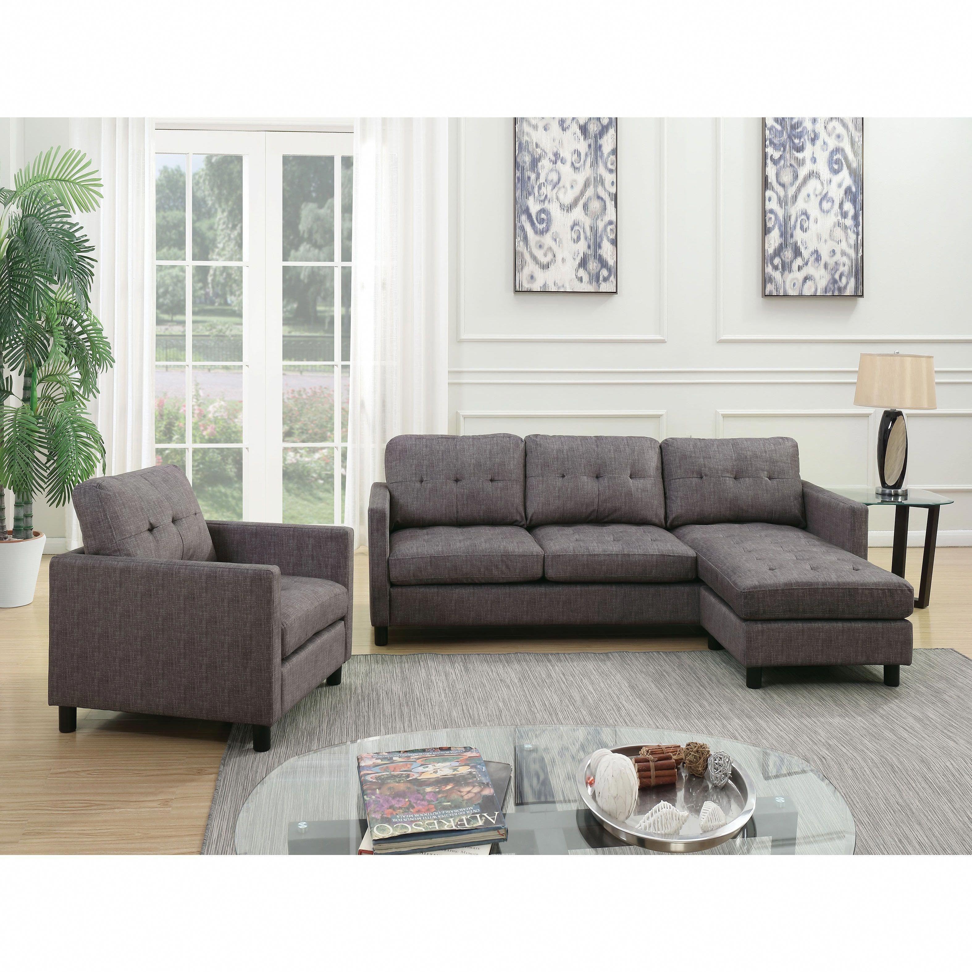 Acme Furniture Ceasar Sectional Sofa Revisable Ottoman Gray
