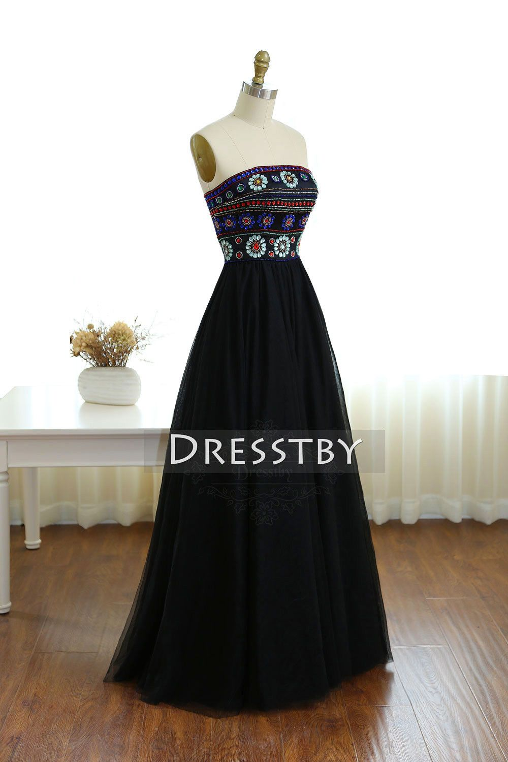 Unique black tulle long prom dress black formal dress dream