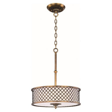 Natural Aged Brass Finished Metal Drum Pendant With A Glass Diffuser And  Openwork Shade Overlay