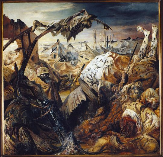 "Otto Dix, Part of the ""War"" Triptych (Triptico Der Krieg), 1924     See more on iheartmyart.com   #art   #painting   #ottodix   #artist   #war"