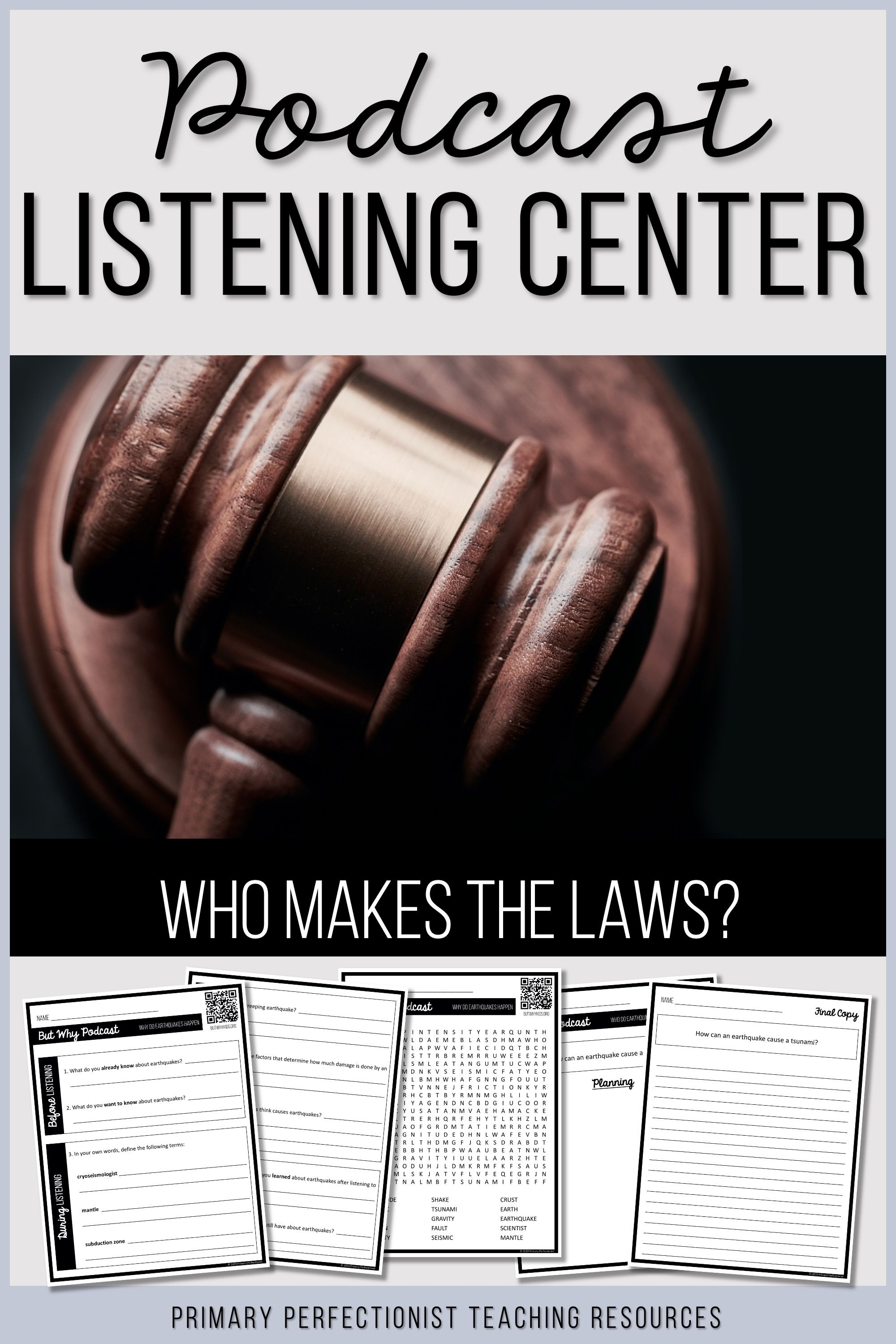 Podcast Listening Center Comprehension Activities