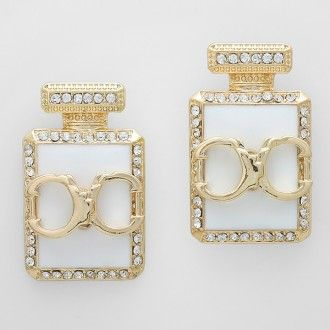 """• Style No : 242727 %0D%0A• Color : Gold / White / Clear %0D%0A• Size : 1"""" W, 1 1/2"""" L %0D%0A• Resin Perfume Handcuffs %0D%0A• Fancy Resin Perfume Earrings %0D%0A• Material : Lead, nickel, cadmium compliant"""