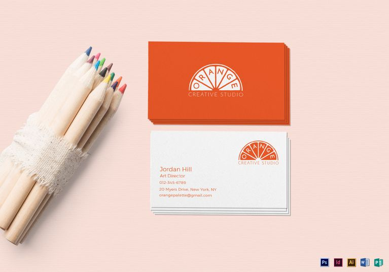 Orange Business Card Template Diy And Crafts
