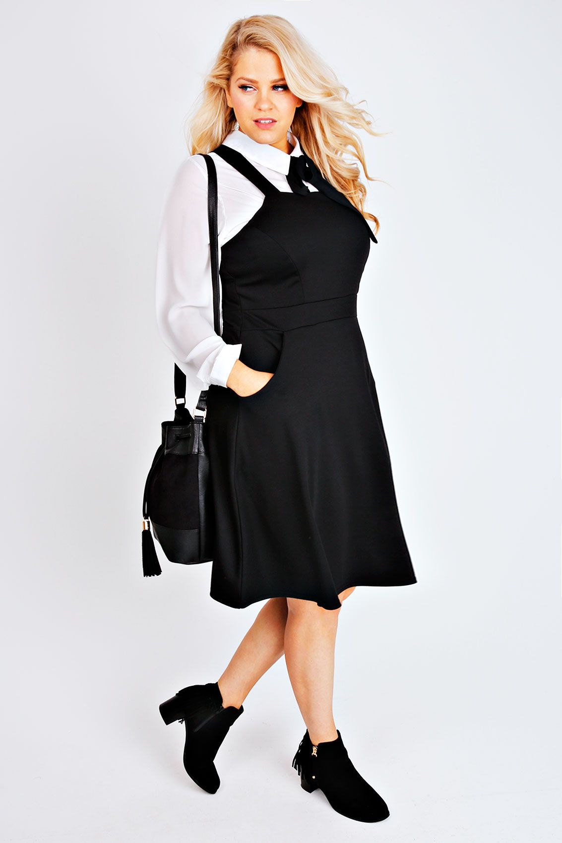Black Ponte Skater Pinafore Dress With Pockets d353067d5b0f