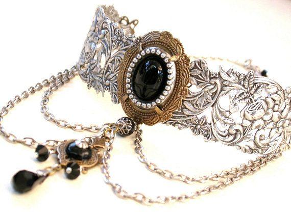 Gothic Choker - Black Onyx auf Silber Choker - Victorian Gothic Schmuck