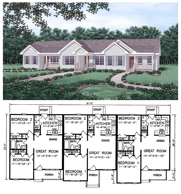 Multi Family Plan 45364 With 6 Bed 3 Bath Family House Plans Duplex Floor Plans Duplex Plans