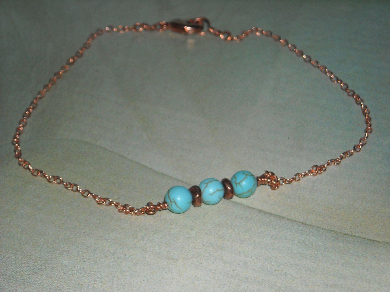 Turquoise Ankle Bracelet Sedona  Copper Anklet Beaded Anklet Blue Ankle  Bracelet Wedding Jewelry Turquoise Anklet Copper Wire Wrapped