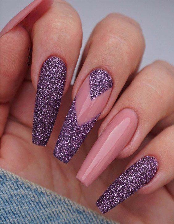 Cute Purple Nail Designs Looks For 2020 Purple Glitter Nails Purple Nails Purple Nail Designs