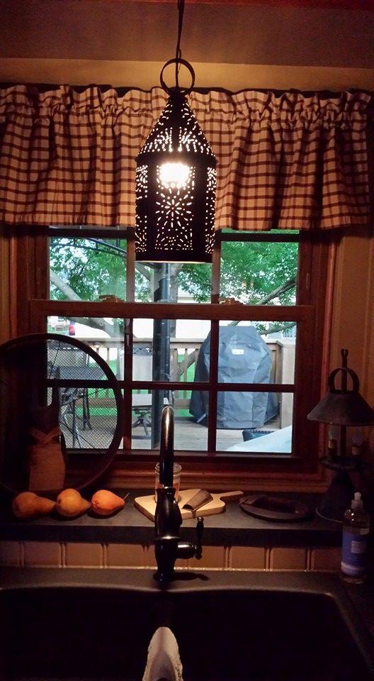 good Primitive Decor Kitchen Part - 19: Primitive lighting, faucet, curtains