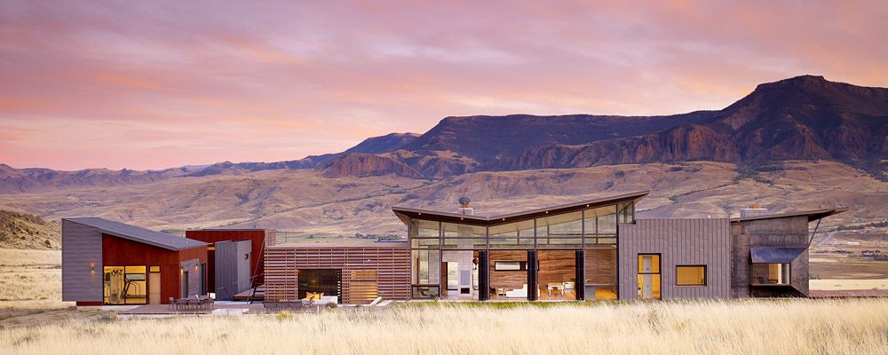 The Structureu0027s Architecture Mimics The Range In The Background. The Materials  Used Make It A Modern Western Ranch With A Rustic Touch