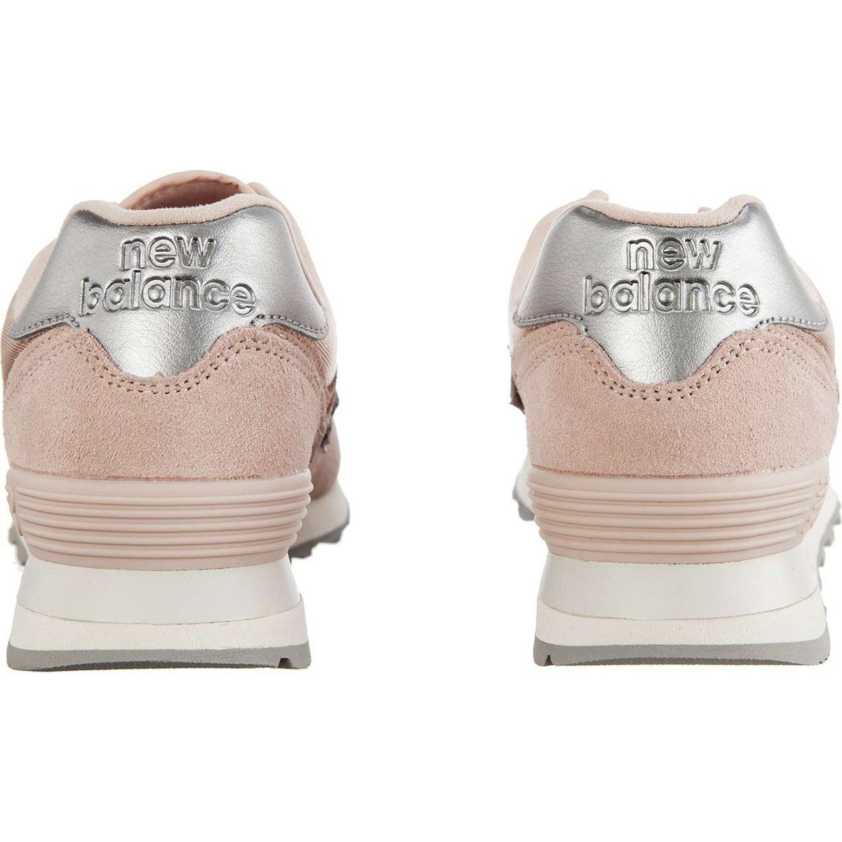 Sportowe Damskie Newbalance New Balance Wl574ops Sateen Tab Oyster Pink With Metallic Silver Baby Shoes Shoes New Balance