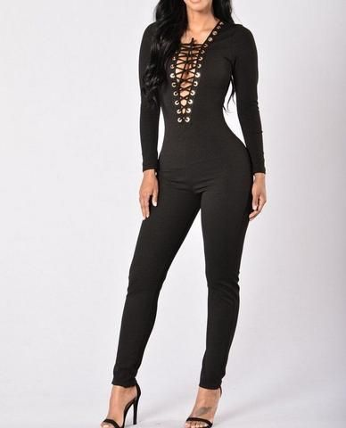 4ef279dcb5 Sexy Women Ladies Clubwear Playsuit Bodycon Party Jumpsuit Hollow Bandage  V-neck Romper Long Pants Skinny Black Trousers