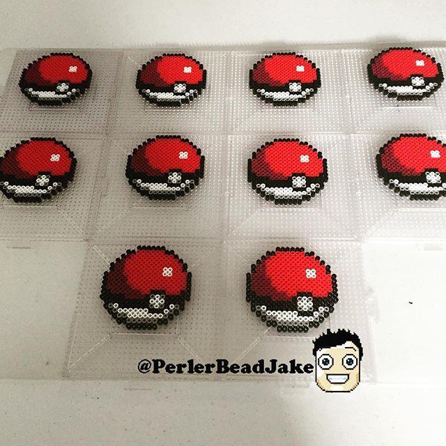 Instagram media by perlerbeadjake - #pokeball and only 90 more to make LOL. #pokemon #perler #perlerbeads
