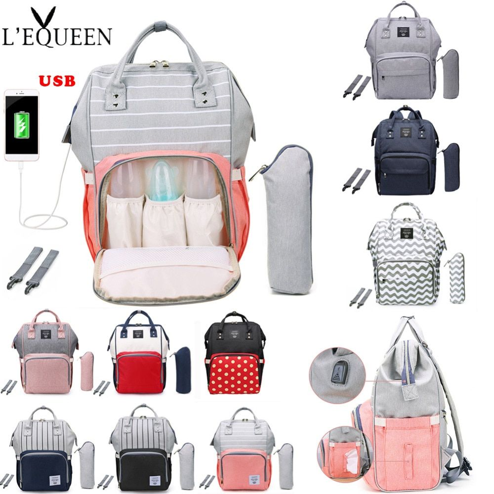 Baby Diaper Bag Waterproof Maternity Mom Mummy Nappy Backpack with Bottle Pocket