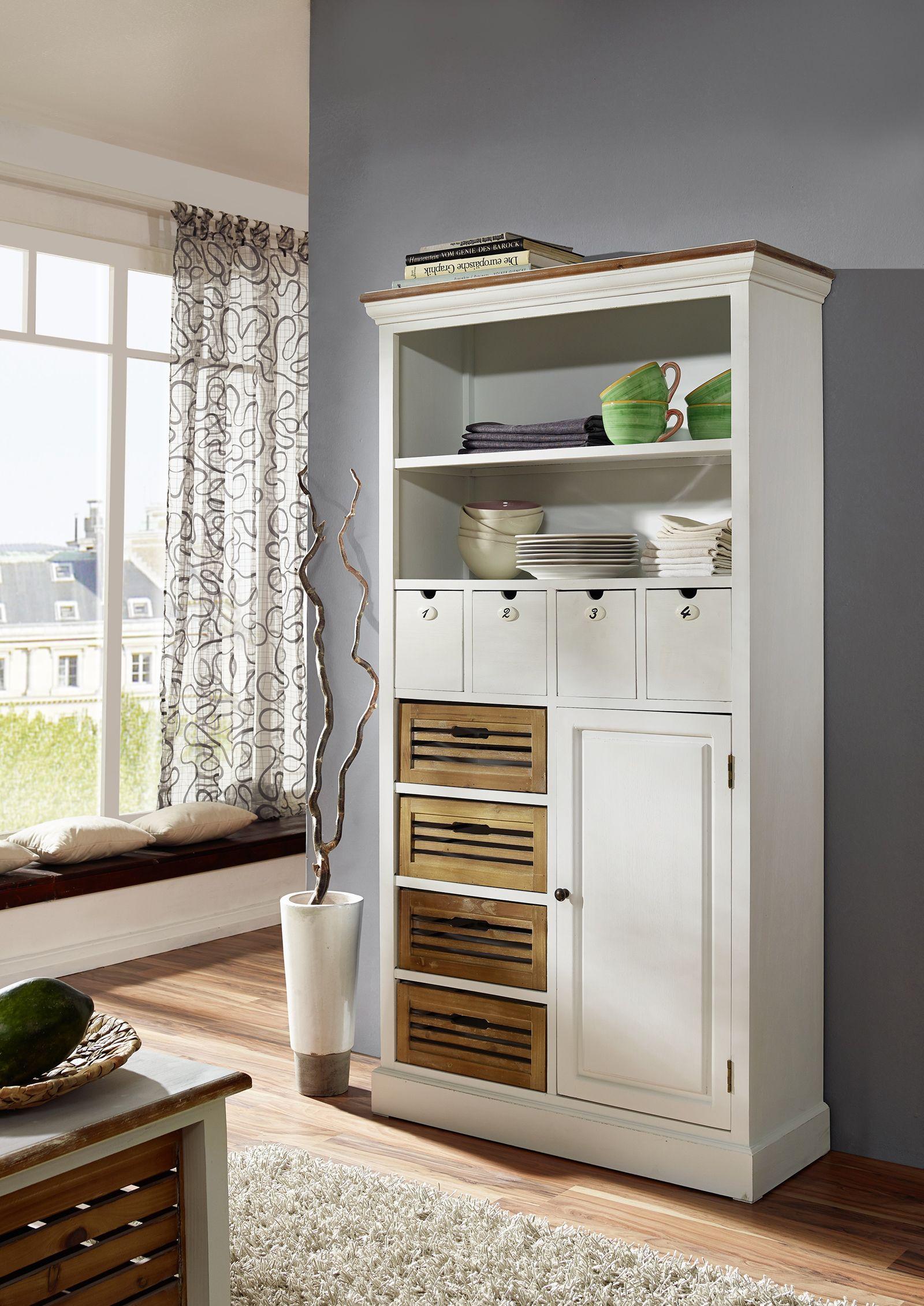 sam hochschrank v wei lackiertes paulowniaholz paris 445. Black Bedroom Furniture Sets. Home Design Ideas