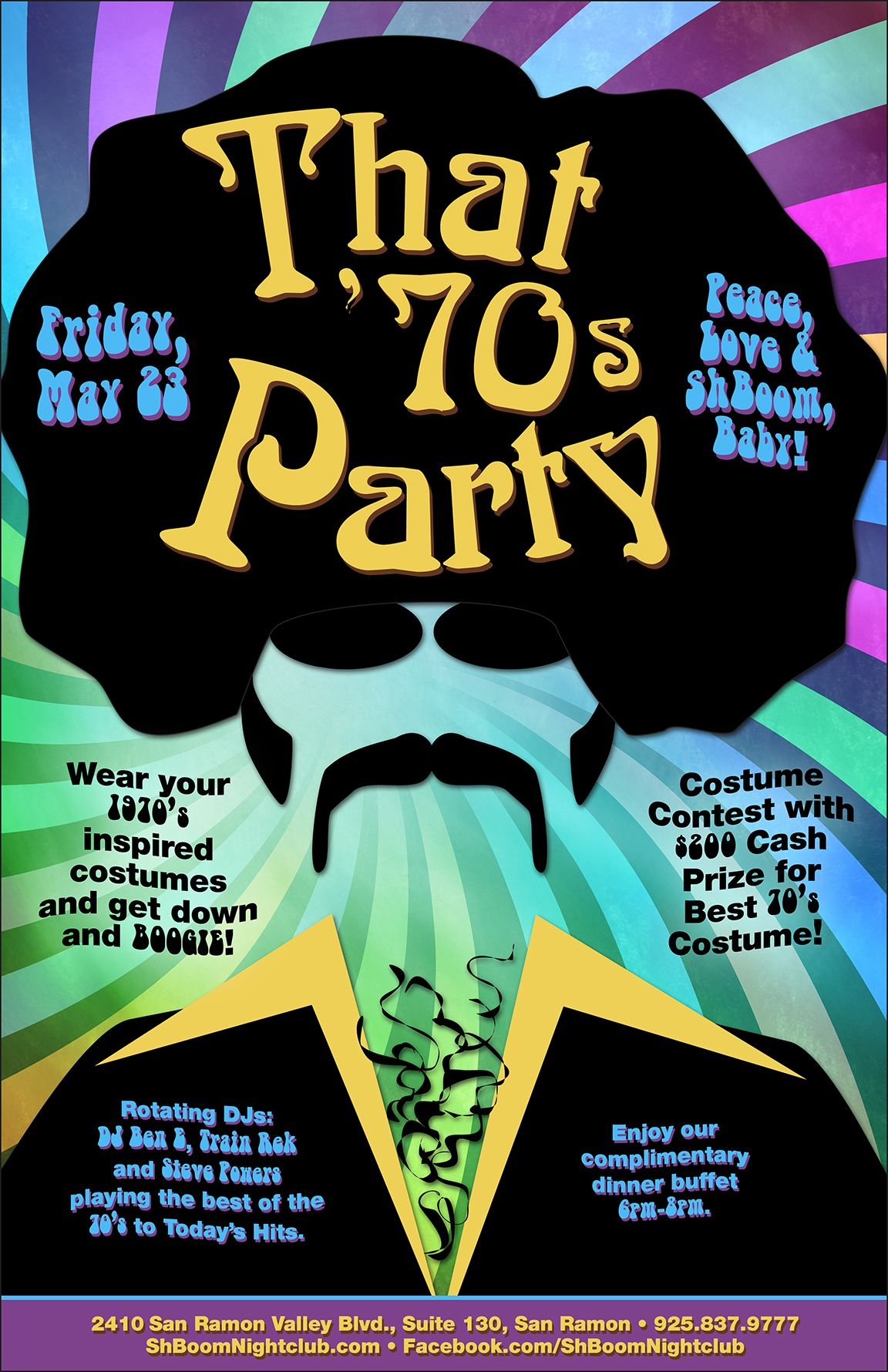 This Is A Flyer That We Have Created For ShBoom Nightclub The Theme Of Event 70s Party Designer Had Idea Using Afro Disco Man