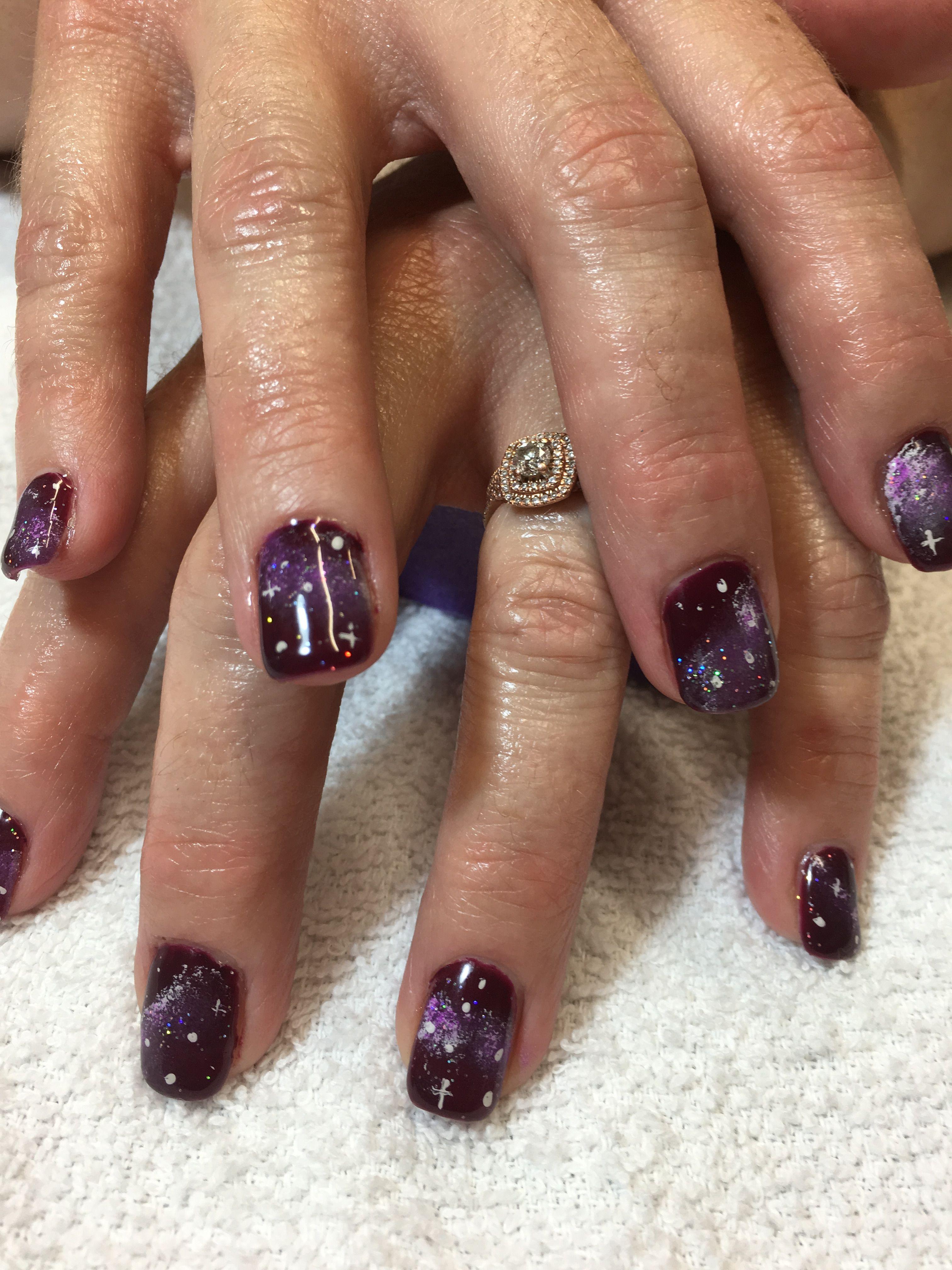 Burgundy galaxy nails art | Cheryls nail designs | Pinterest ...