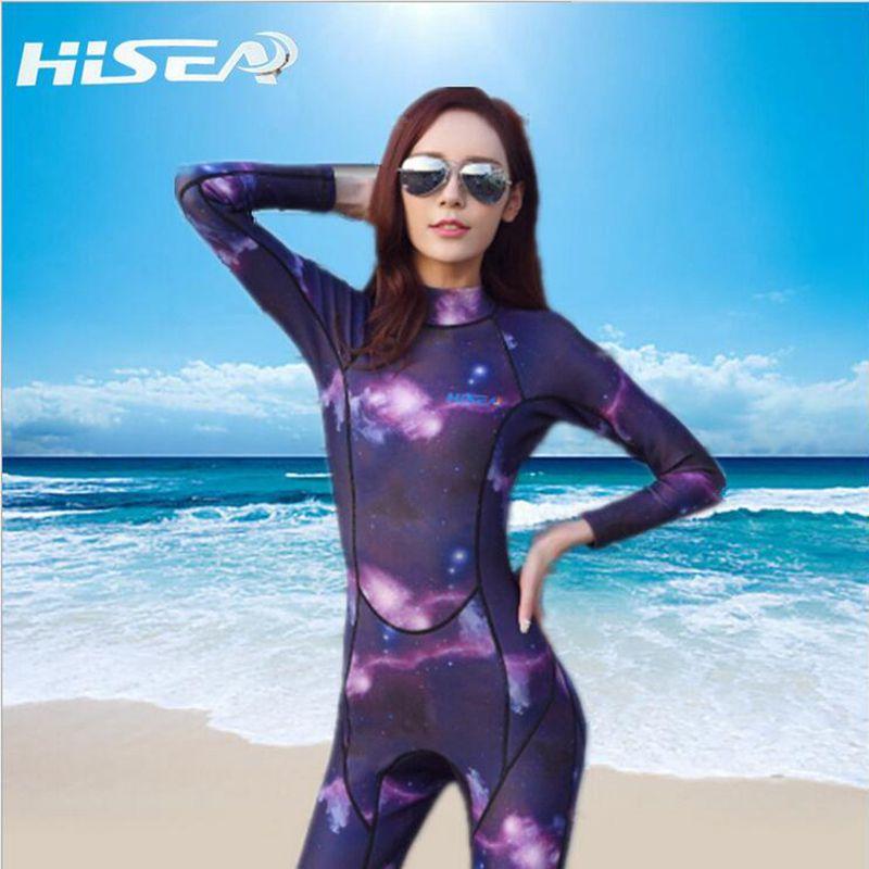 3b1e4ab0fb Hot Hisea 3mm Neoprene Wetsuit Women Swimsuit Equipent For Diving Scuba  Swimming Surfing Spearfishing Suit Triathlon