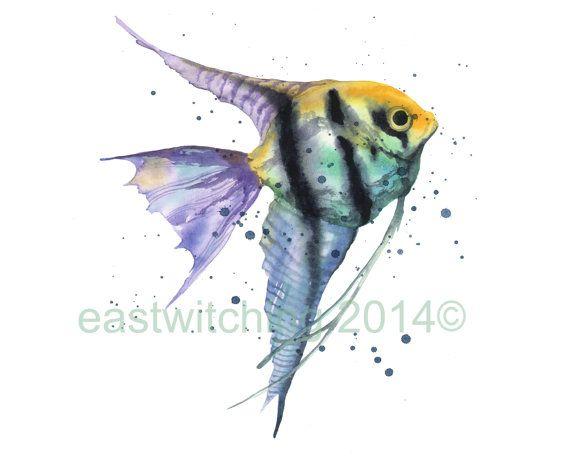 Aquarell Angel Fish Zu Drucken 8 X 10 Grafik Tropischer Fisch