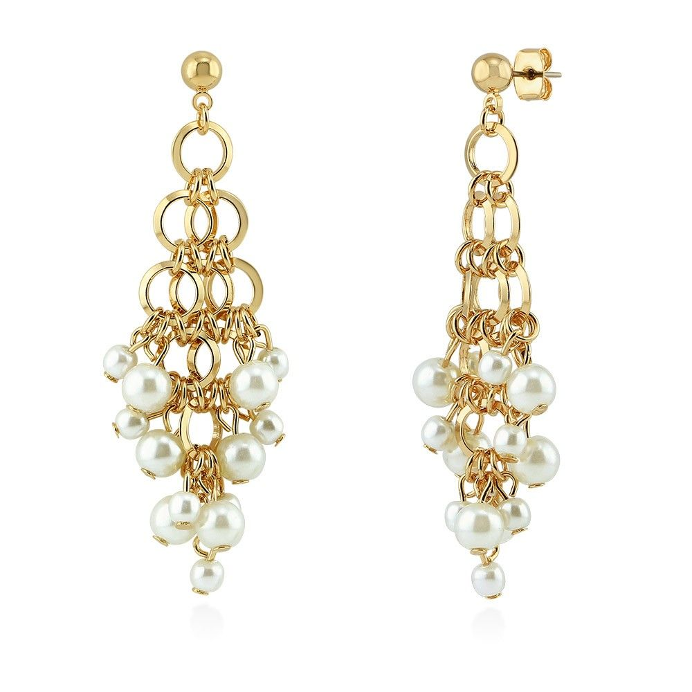 These chandelier earrings present cascading links and faux pearls these chandelier earrings present cascading links and faux pearls interlaced with an edgy elegance made arubaitofo Gallery