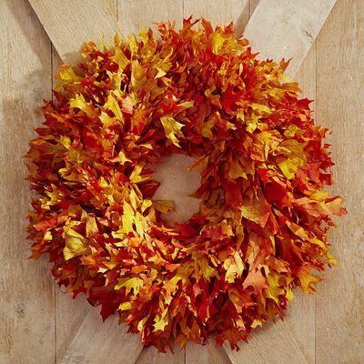 preserved oak leaf wreath orange dried preserved florals