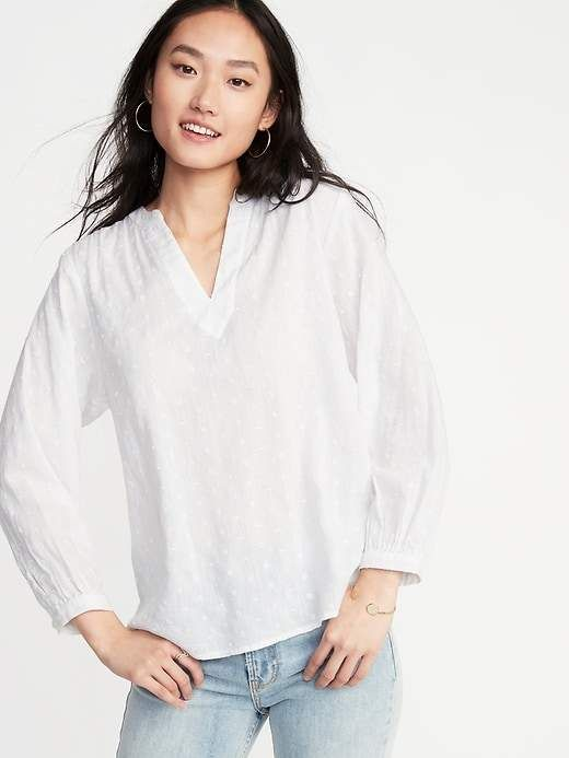 379d78a81bb078 Old Navy Embroidered Eyelet Split-Neck Blouse for Women in 2019 ...