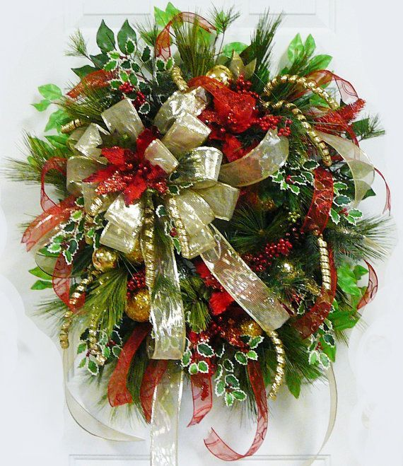 xxl gorgeous christmas door or wall wreath gold by ladybugwreaths - Christmas Mesh Wreath Ideas