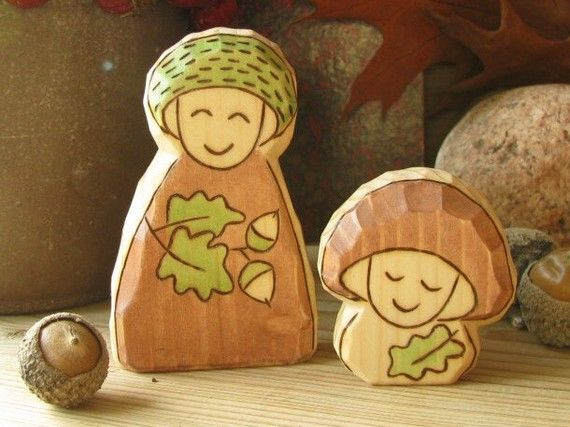 Oak Gnome and Mushroom Baby  the best friends  by Rjabinnik, $15.90