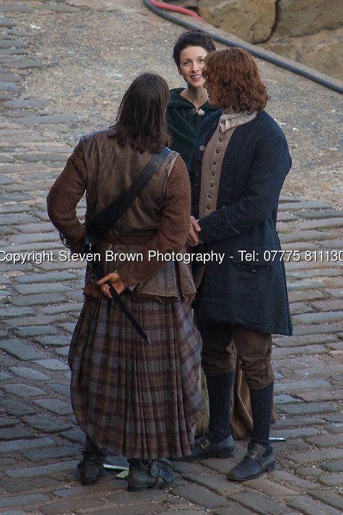 Outlander Season 2 being filmed in Dysart, Fife. Leading actress Caitriona Balfe plays Claire and leading actor Sam Heughan plays Jamie. Filming on 3rd June 2015