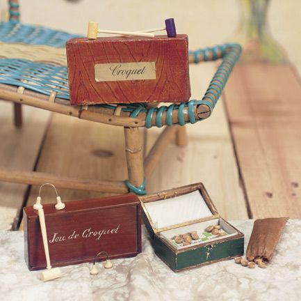 """Three French Miniature Games for Poupees 2 1/2"""" (7 cm) loto box. Including two sets of miniature croquet with bone croquet mallets,balls,metal arches,one in walnut box with slide lid,the other in cardboard box with faux- wood finish with original paper label """"Croquet""""; along with loto game,in original box with wooden numbered buttons and cards. French,circa 1875"""