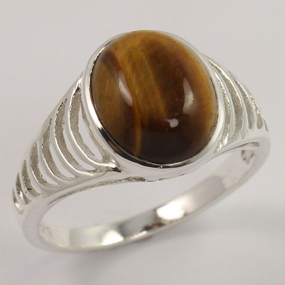 925 Sterling Silver Natural TIGER'S EYE Gemstone Delicate Ring Size US 6.75 NEW #Unbranded #Fashion