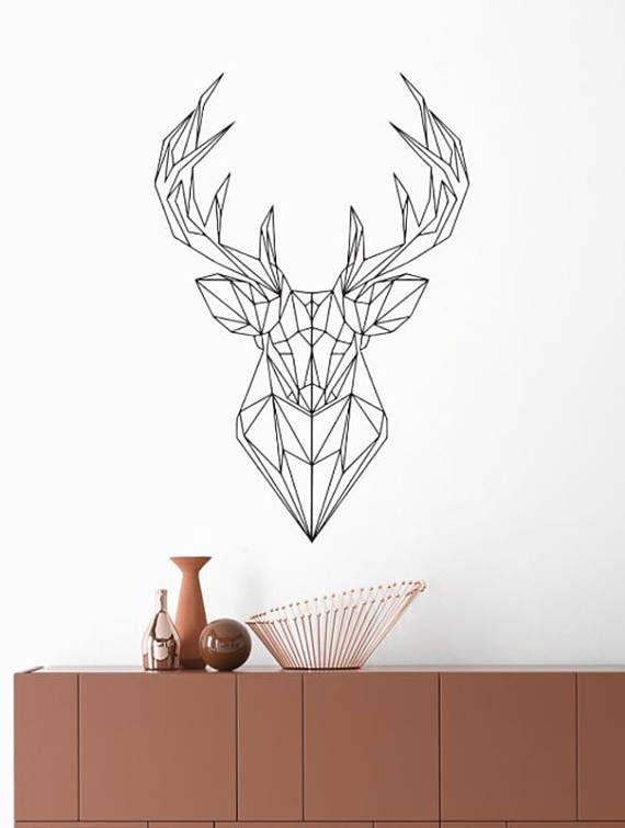 Simple wall stickers geometric deer adesivi murali decorazione pareti home wall decor vinyl with - Decorazione pareti interne ...