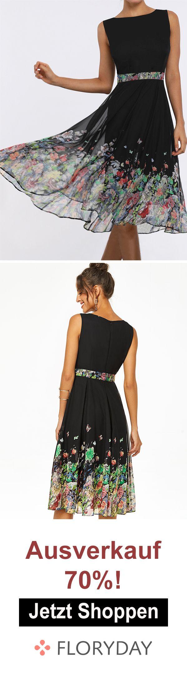 elegantes knielanges x-line-kleid mit blumenmuster in 2020