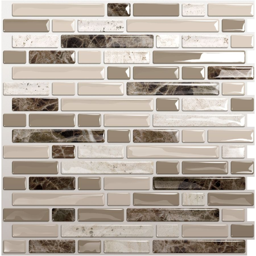 Shop Smart Tiles 10-in x 10-in Beige Mosaic Vinyl Tile at Lowes.com ...