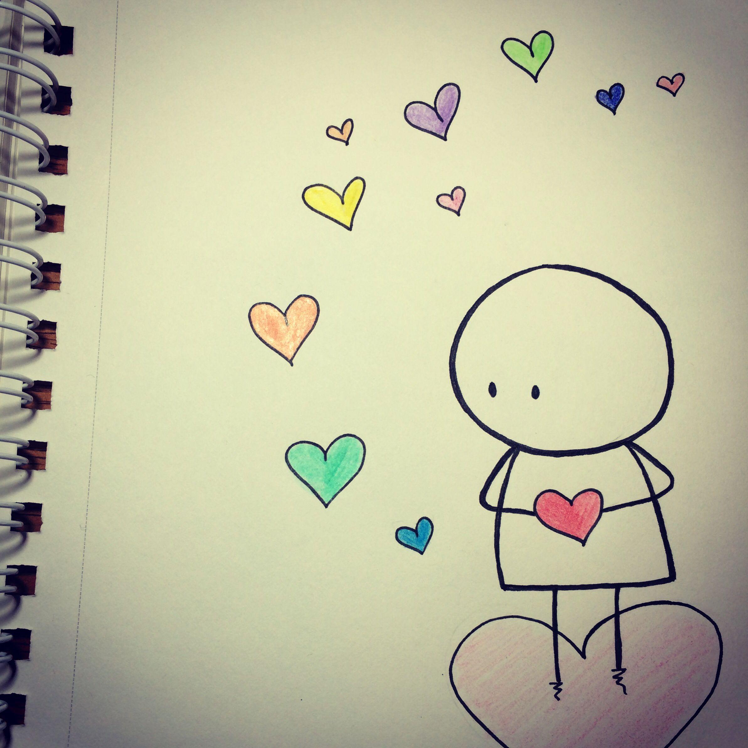 Love Heart Drawing In 2019 Cute