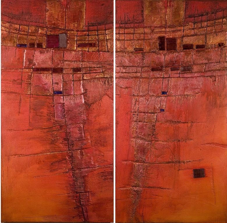 RED FIELD MIXED MEDIA on WOOD 2-teilig 152 x 150 cm RUDI ECKERLE GERMAN CONTEMPORARY FINE ARTIST BADEN-BADEN MODERN ART for HOME & OFFICE