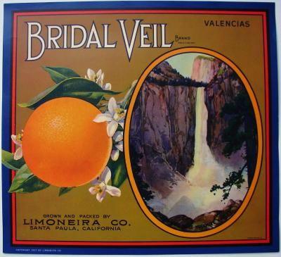 Lindsay Bridal Veil Yosemite Orange Citrus Fruit Crate Label Art Print