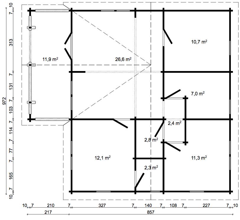 Letonia Floorplan Dimensions In Cm Cabin Kits Cottage Kits