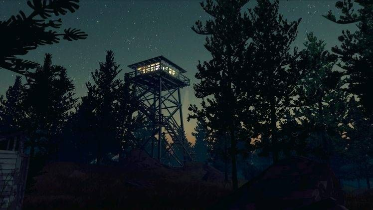 firewatch, video games, night, forest, trees, stars hd wallpaper