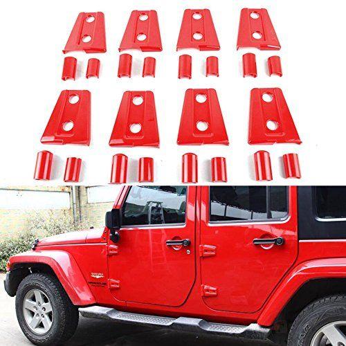 Bolaxin Jeep Wrangler Jk Unlimited Red Door Hinge Covers Jeep Wrangler Accessories Jeep Wrangler Jeep Doors