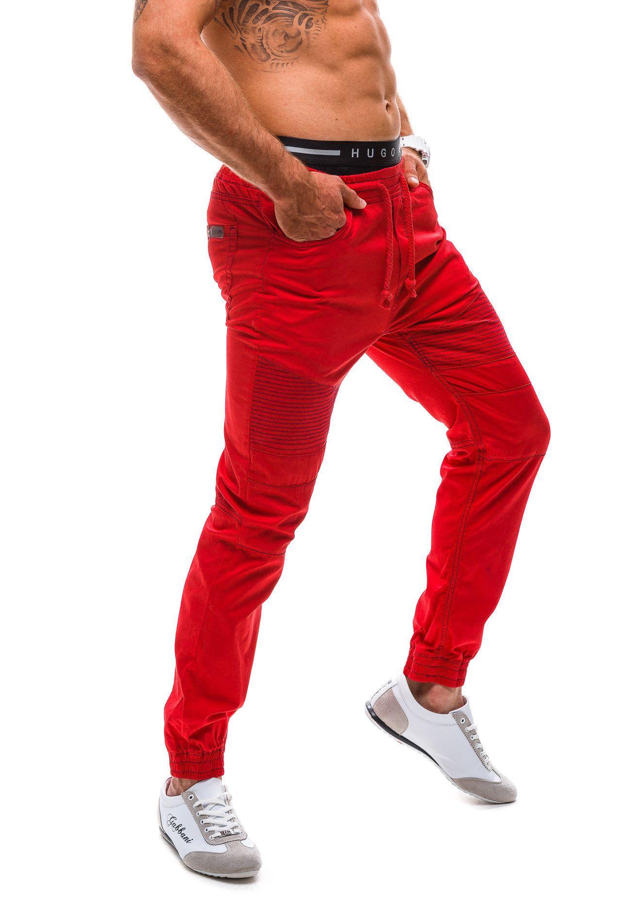 Spodnie Meskie Joggery Red Polo 603 Czerwone Sweatpants Pants Parachute Pants