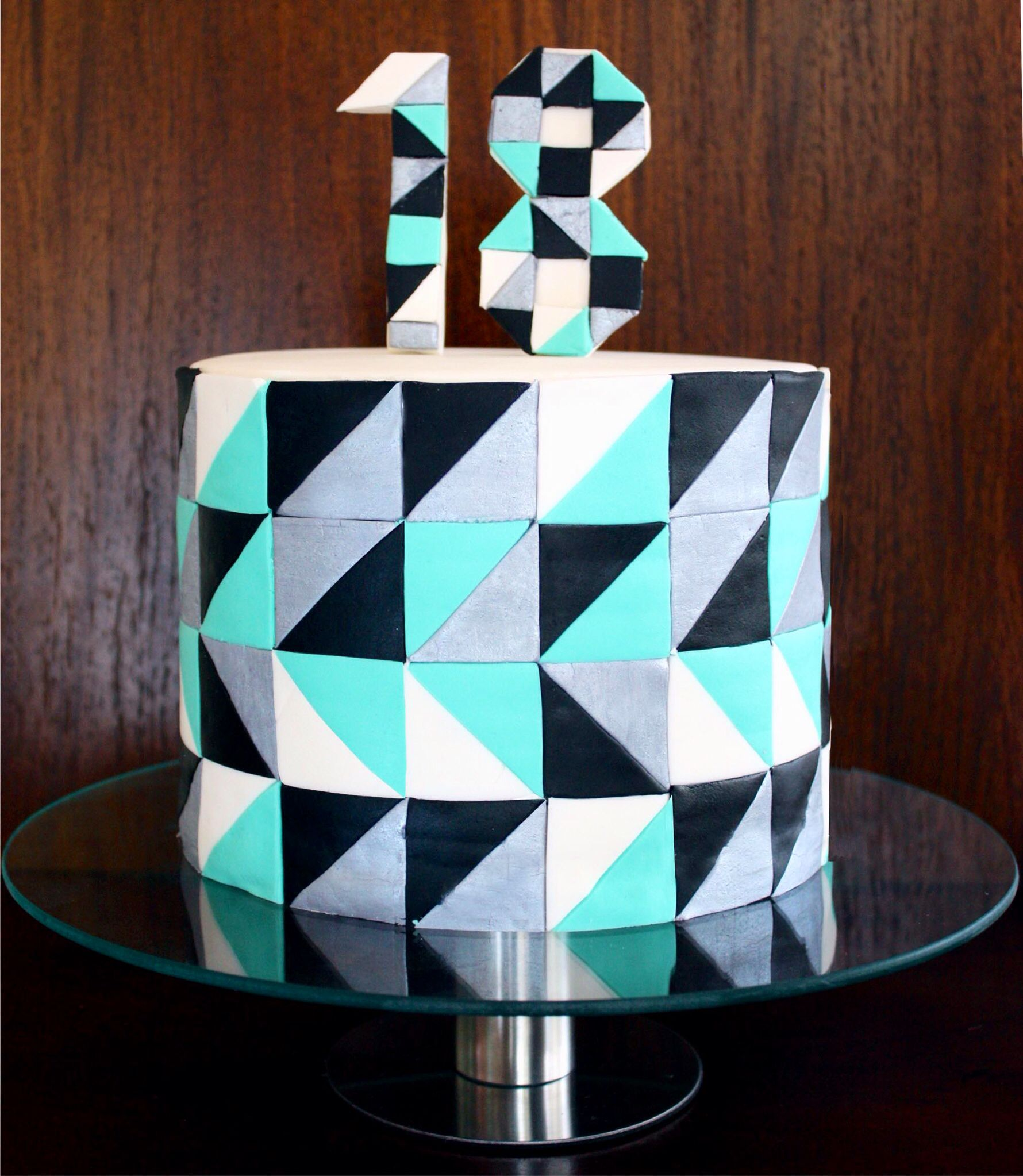 Mosaic Geometric Graphic Triangles 18th Male Birthday