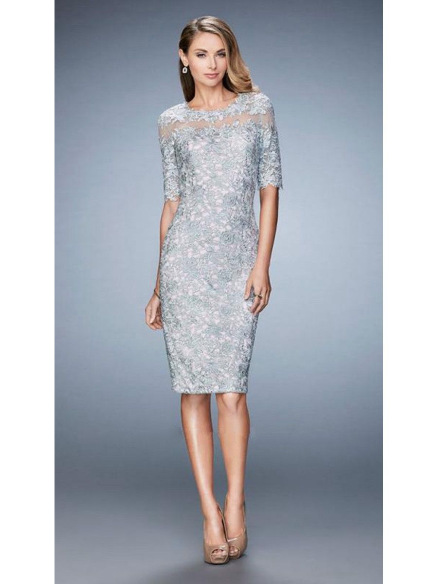 Elegant Short Silver Lace Mother of The Bride Dresses 1603005 ...