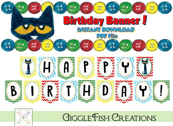 Birthday banner features primary color scheme inspired by Pete the