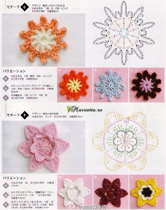 схемы круглых цветочных мотивов могут пригодиться для вязания
