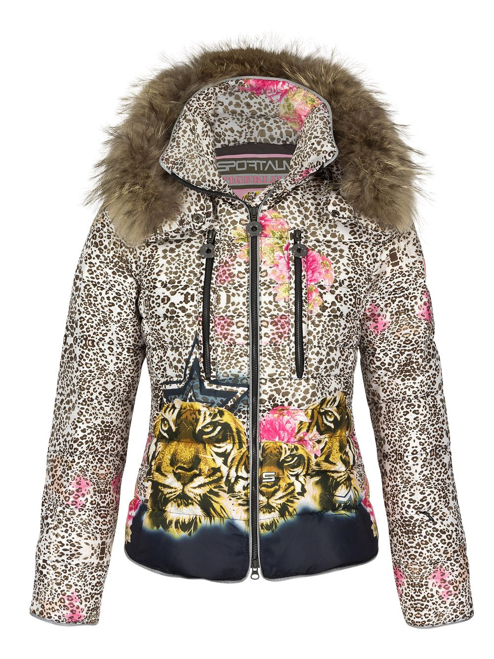 a fabulous looking down jacket in tiger print this is a fun designed ski jacket to match up. Black Bedroom Furniture Sets. Home Design Ideas