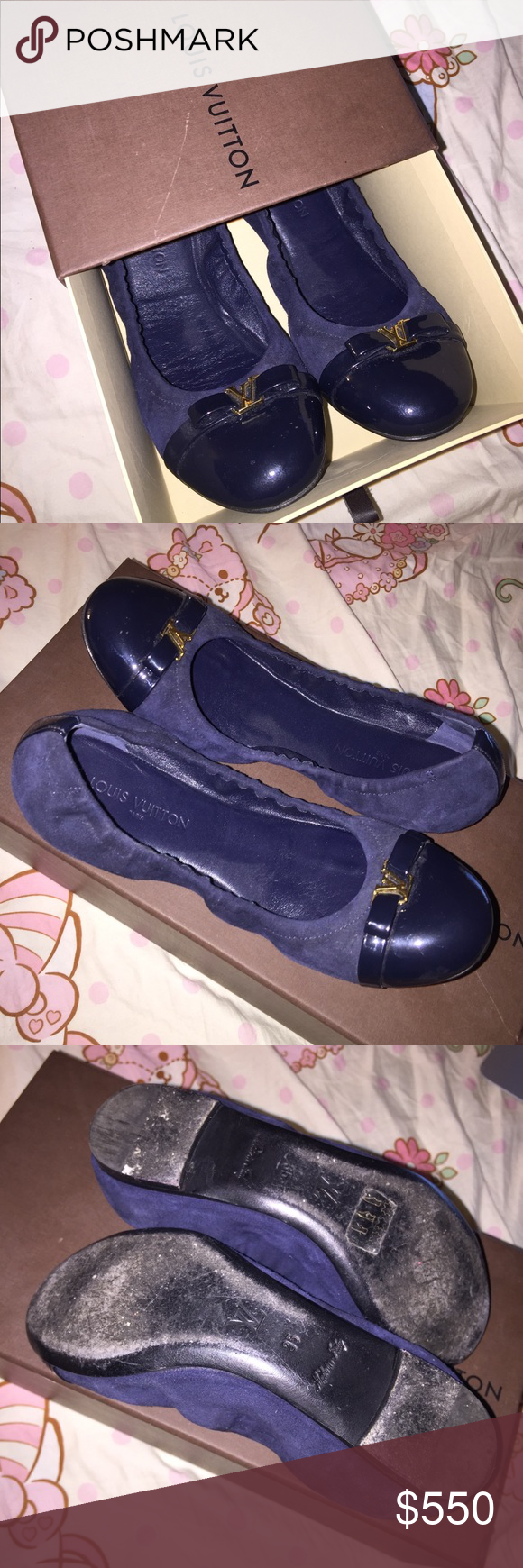b99730af6d74 Spotted while shopping on Poshmark  LV Navy Blue Suede Patent Elba  Ballerina Flats!  poshmark  fashion  shopping  style  Louis Vuitton  Shoes
